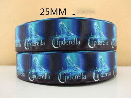 1 METRE CINDERELLA SLIPPER THE MOVIE RIBBON SIZE 1 INCH BOWS HEADBANDS CLIPS BIRTHDAY CAKE
